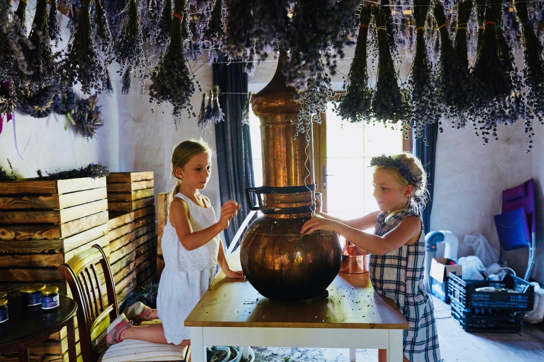Dwie dziewczynki na lawendowych warsztatach