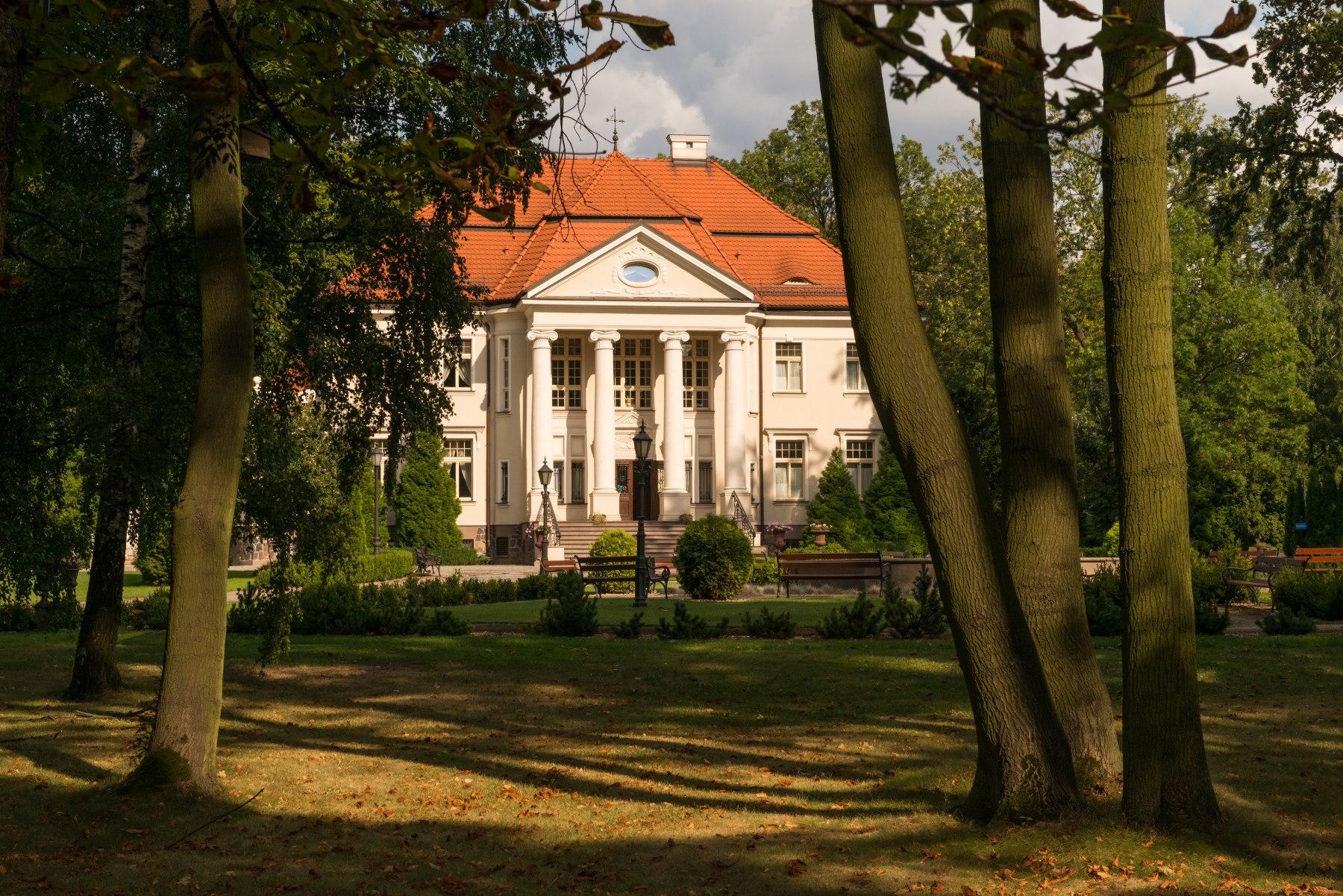 Stylowy Pałac Tłokinia wśród drzew